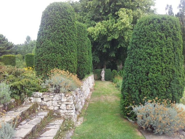 Yew Trees and Statue