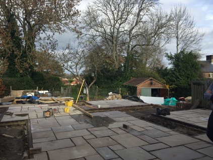 Laying the paving